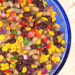 Southwestern bean salad with black beans, black-eyed peas, red peppers, & cilantro