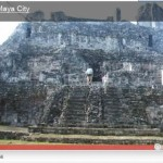Felize fitness:  Outdoor girl climbing Maya pyramids, Yucatan, Mexico