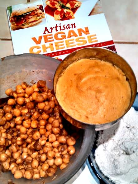 The lime-chipotle chickpea project was co-incidental with my first venture into making sharp cheddar cashew cheese from my friend Miyoko's book.